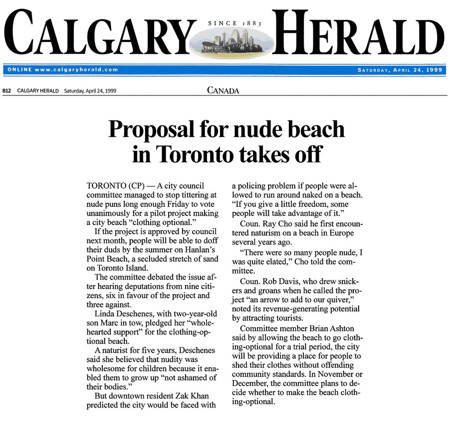 Calgary Herald 1999-04-24 - City committee OKs Simm's proposal for CO-zone at Hanlan's Point